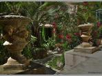 Garden view courtyard plants pool sitting palm tree steps nissan holiday rental languedoc