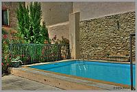 Large village house pool rent Languedoc Nissan holiday summer sunbeds child friendly barrier courtyard private
