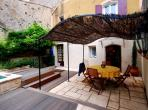 Beautiful village house Cazouls d'Herault Languedoc rental holiday visit property sun awning shade outside