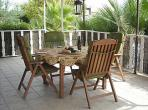 Maison du Maraussan Languedoc rental holiday visit property rent shaded dining area outside villa