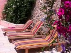 Village House. Cruzy. Languedoc. Property. Holiday.  Sun beds.
