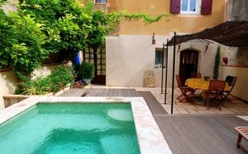 Beautiful village house Cazouls d'Herault Languedoc rental visit property holiday stone table sun awning pool alarm children