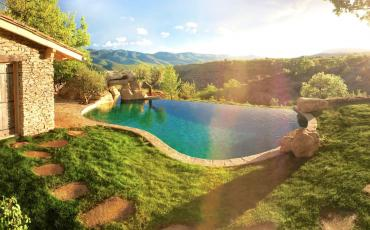 Breathtaking mountain retreat with 4 very different properties available, infinity swimming pool, sleeps 8.